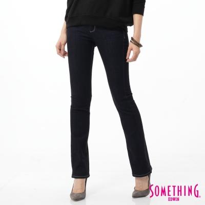 SOMETHING NEO FIT 蕾絲印花靴型牛仔褲-女-原藍磨
