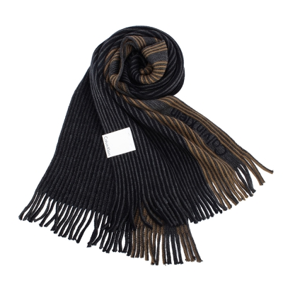 Calvin Klein CK 直條紋刺繡LOGO雙色針織圍巾-深藍/咖