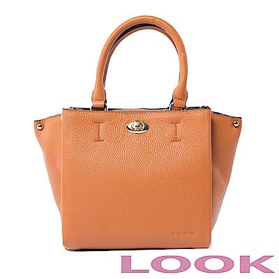 LOOK真皮轉鎖手提包-俏麗女孩Queena系列-英倫咖