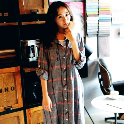 Keep-Chic孕婦裝-襯衫款大格紋百搭洋裝