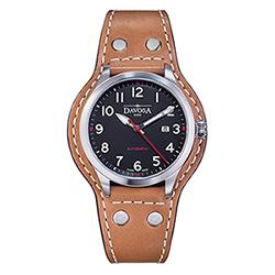 DAVOSA Axis AUtomatic 手工縫製專業護腕全皮帶錶-黑x咖啡色帶