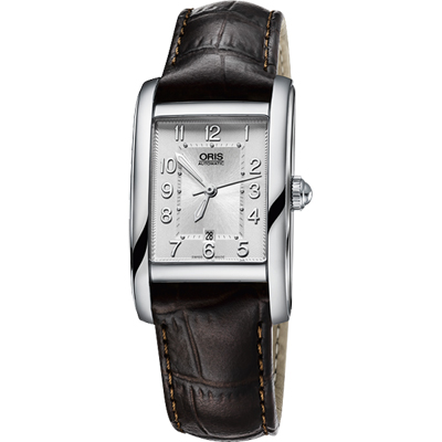 Oris Rectangular 經典日期顯示機械女錶-銀x咖啡/25mm