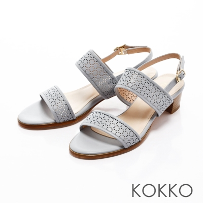 KOKKO-環帶蕾絲雕花粗跟真皮後帶涼鞋-尼加拉瓜藍
