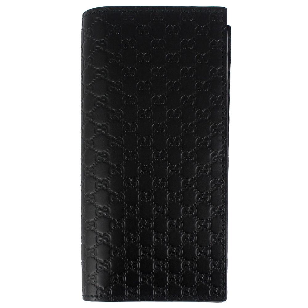GUCCI Guccissima 黑色厚質真皮壓紋直立式長夾