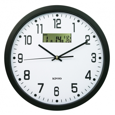 KINYO 14吋靜音LCD雙顯示掛鐘CL151