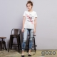 gozo個性鑰匙刺繡印花造型窄管牛仔褲(二色