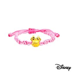 Disney迪士尼金飾 夢想美妮黃金中國繩手鍊-可愛粉