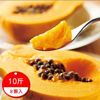 果之蔬 台灣屏東台農2號中春大木瓜 10斤±10%/8顆/箱