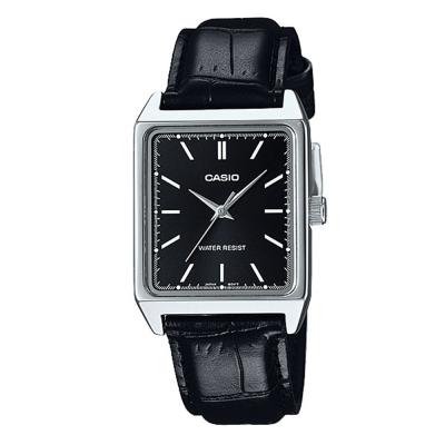 CASIO 經典時尚簡約方款指針腕錶-黑x黑面(MTP-V007L-1E)/40mm