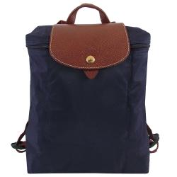 Longchamp皮飾邊折疊後背包(藍色)