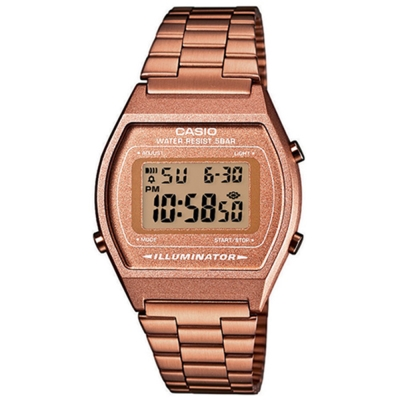 CASIO 大錶面簡約酒桶型數位錶(B-640WC-5A)-咖啡金/35mm