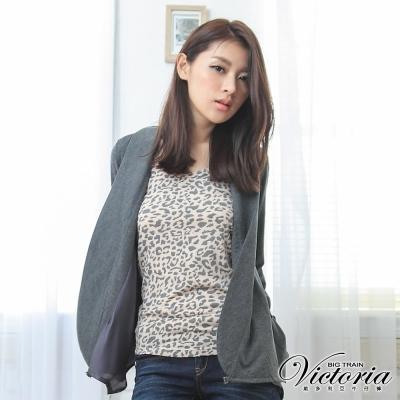 Victoria 豹紋長版背心-女-粉紅