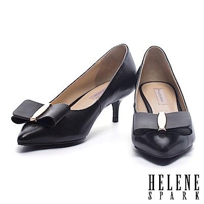 高跟鞋 HELENE SPARK 氣質名媛風金飾蝴蝶結羊皮尖頭高跟鞋-黑