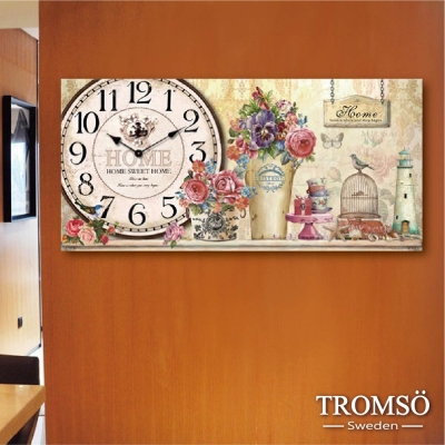 TROMSO無框畫時鐘-優雅花語(橫式)
