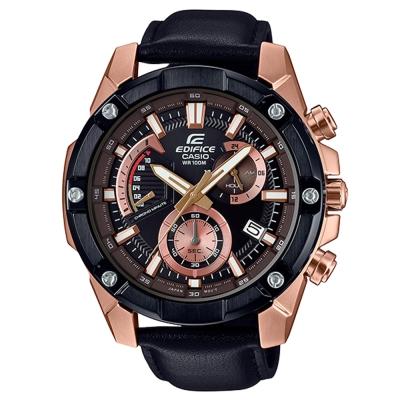 EDIFICE粗曠復古質感螺絲設計皮帶計時腕錶(EFR-559BGL-1)玫瑰金框49mm