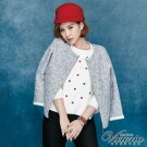 Victoria 花紗布九分袖短版外套-女-灰紗