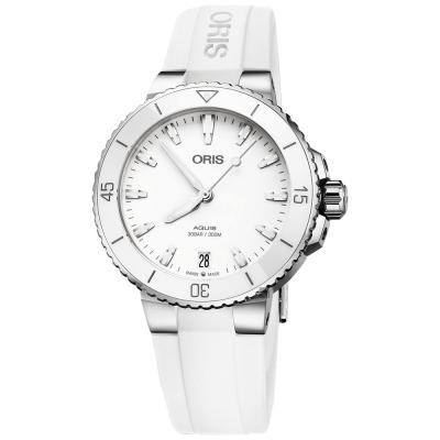 Oris豪利時 Aquis 時間之海潛水300米機械錶~白色橡膠帶 36.5mm