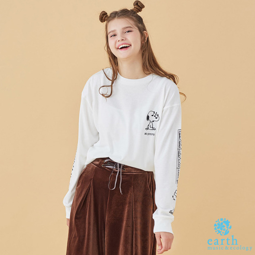 earth music SNOOPY聯名款-手繡印花長袖T恤