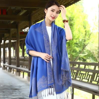 Seoul-Show-曼荼羅-隱痕-棉質編織圍巾披肩-寶藍