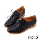 HERLS-紳士小方頭復古雕花牛津鞋-黑色