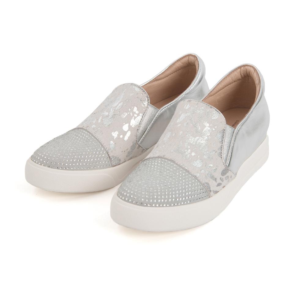 TAS潑漆燙金水鑽內增高休閒鞋-時髦銀