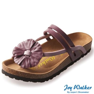 Joy Walker 夏日立體花朵夾腳拖鞋*紫色