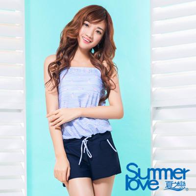 夏之戀SUMMERLOVE 比基尼泳裝 連身褲兩件式 淺藍條紋 粉紅鶴印花