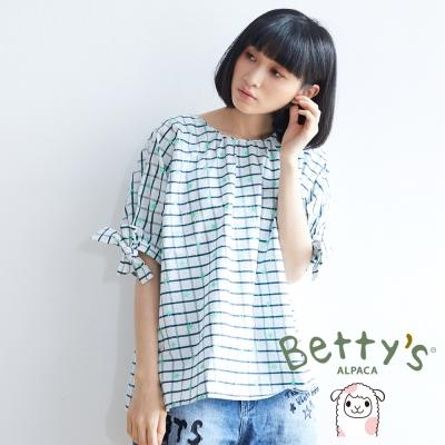betty's貝蒂思 星星格子印花五分袖上衣(綠色)