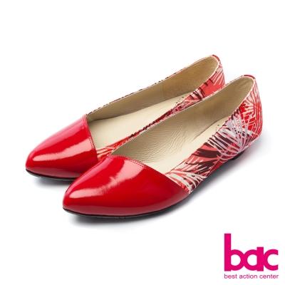 bac甜美履行夏日印花異材質拼接尖頭低跟鞋紅