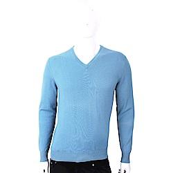 Andre Maurice 100%喀什米爾天空藍V領針織羊毛衫