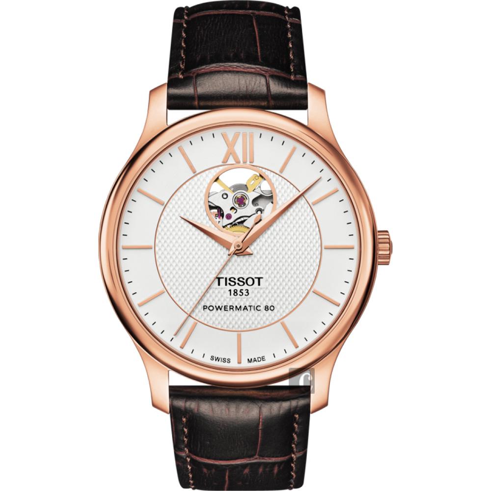 TISSOT 天梭 Tradition 80小時動力鏤空機械腕錶-銀x玫塊金框/40mm