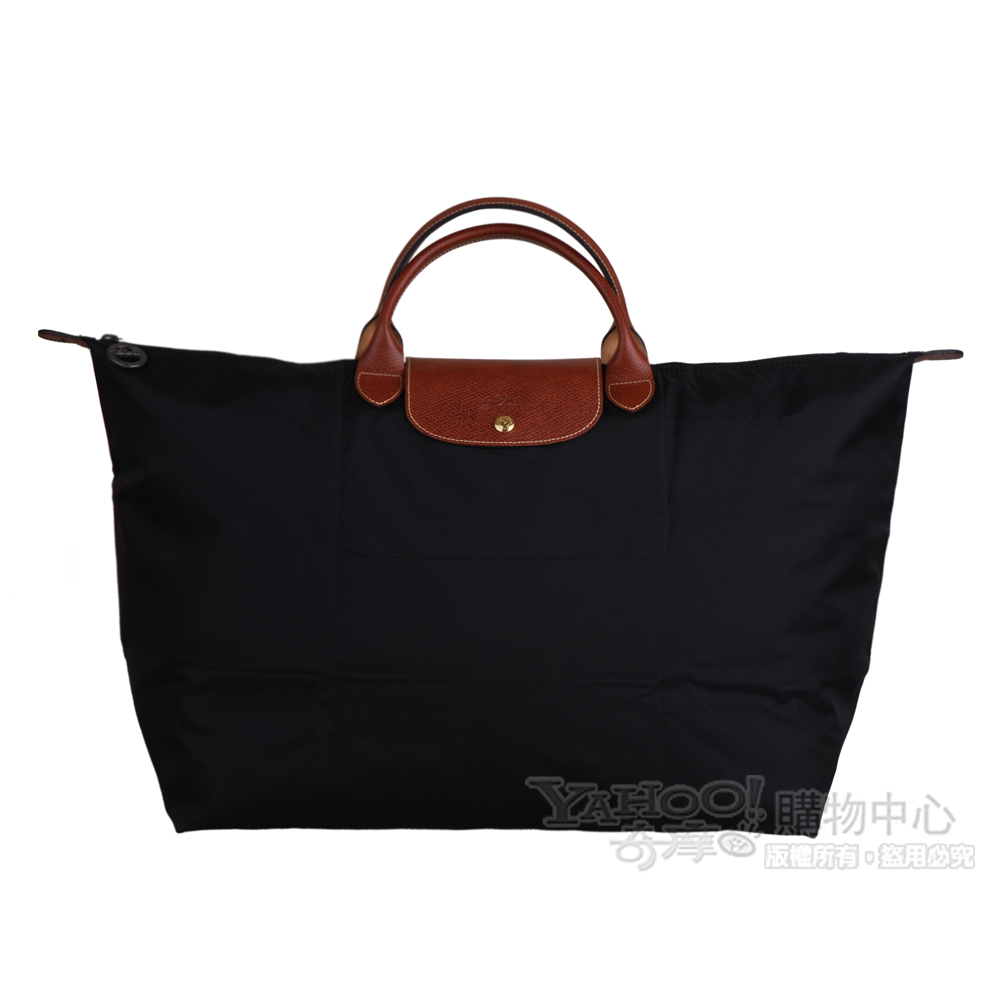 Longchamp Le pliage系列短把拉鍊摺疊旅行包(中.黑)