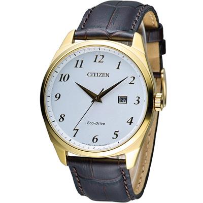 CITIZEN 星辰 光動能紳士時尚腕錶(BM7322-06A)-白x金框/42mm
