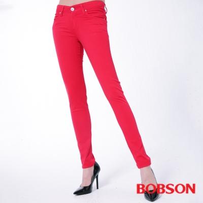 BOBSON 女款膠原蛋白彩色小直筒褲 -紅色