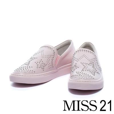 休閒鞋 MISS 21 搖滾個性星星鉚釘平底休閒鞋-粉