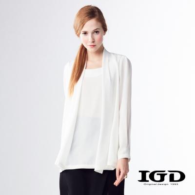 IGD英格麗 悠閒風百搭雪紡假兩件開襟上衣-白色