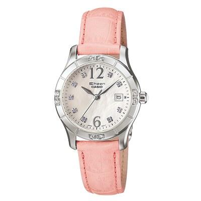 CASIO 珍珠母貝系列指針皮帶錶(粉紅色)