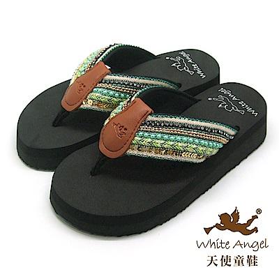 天使童鞋-卡爾蜜雅夾腳親子拖鞋(超大童)-綠