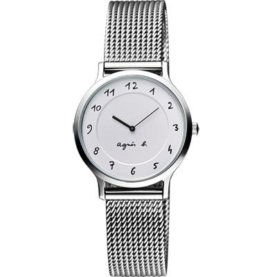 agnes b. 法國時尚米蘭女錶-銀/26mm