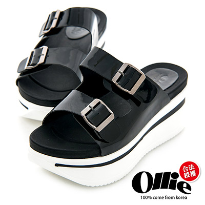Ollie韓國空運-正韓製皮革雙帶扣飾厚底拖鞋-黑