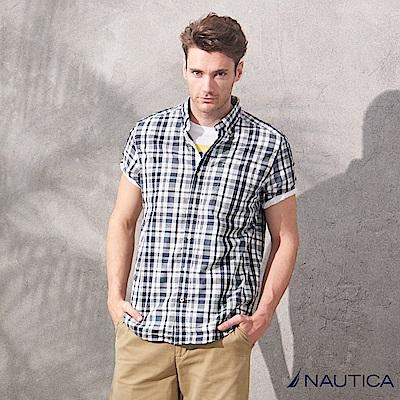 Nautica 文青風短袖格紋襯衫-藍