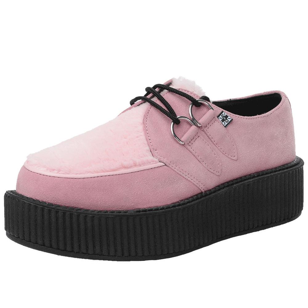 TUK VIVA 輕量麂皮絨毛龐克鞋-5CM-粉紅