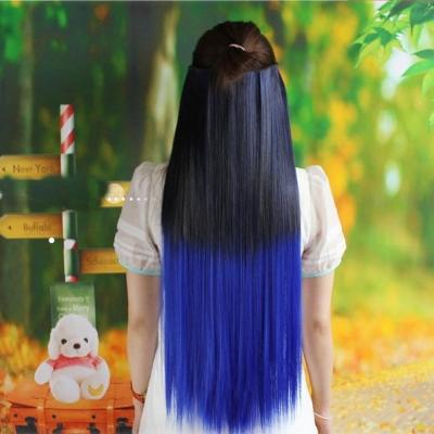 狐狸姬 髮片一片無痕接髮片直髮假髮髮片(黑漸變寶藍)