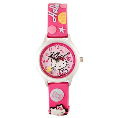 HELLO KITTY 凱蒂貓亮眼立體印花手錶-桃紅/ 32 mm