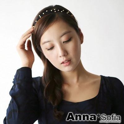 AnnaSofia-金點圓移扣-多層次彈性髮帶-黑