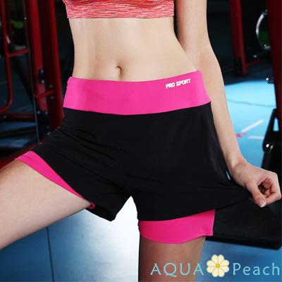 運動褲 撞色拼接假兩件短褲 (玫粉色)-AQUA Peach