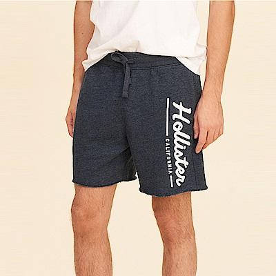 Hollister HCO 海鷗 經典刺繡文字短棉褲-深藍色