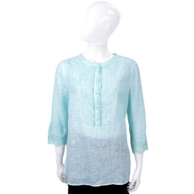 ERMANNO SCERVINO 蕾絲袖拼接湖水藍棉麻襯衫式上衣
