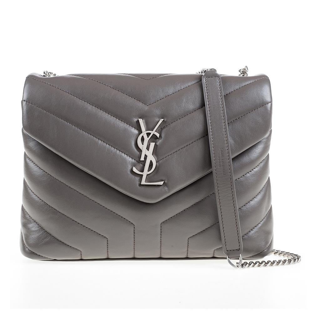 YSL Loulou系列銀釦金屬Y字小牛皮V縫線設計肩揹斜揹二用包大象灰