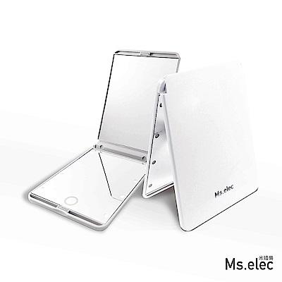 Ms.elec米嬉樂 LED觸控口袋化妝鏡-白